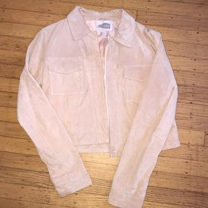 Real suede cropped pink salmon jacket